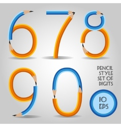 Digit set in wooden pencil style vector image