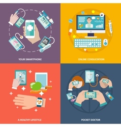 Digital health icons set flat vector