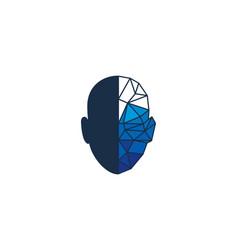 digital human head logo icon design vector image