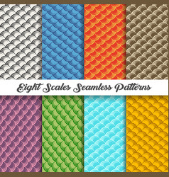 Eight scales seamless patterns vector