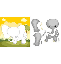 elephant puzzle vector image