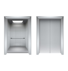 elevator doors closing and opening lift metallic vector image