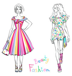 fashionable girls in summer dresses vector image