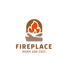 fire in fireplace with firewood logo vector image