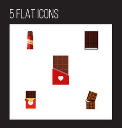 flat icon bitter set of dessert sweet chocolate vector image