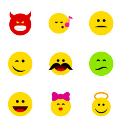 Flat icon expression set angel cheerful vector