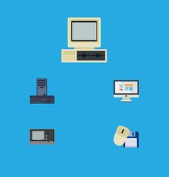 Flat icon laptop set of display processor vector