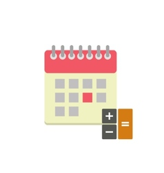Flat style calendar icon with calculator vector image