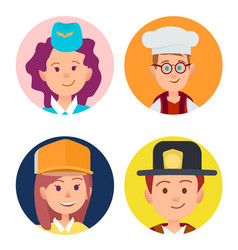 Four icons of children in adult occupations flat vector