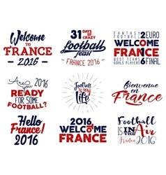 France europe 2016 Football labels Soccer vector