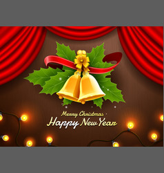gift box merry christmas and happy new year vector image