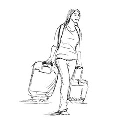 Hand sketch woman with a suitcase vector image