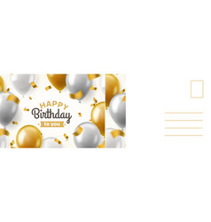 happy birthday postcard holiday card with vector image