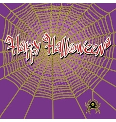 Happy Halloween spiderweb and spider vector