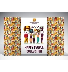 Happy people set big group collection vector image