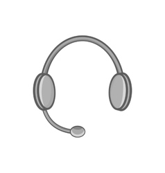 Headphones with microphone icon monochrome style vector image vector image