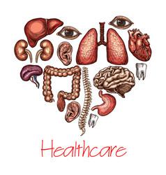 Heart health symbol composed human organ sketch vector