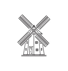 icon outline style windmill vector image