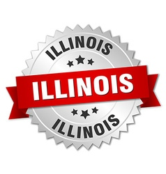 Illinois round silver badge with red ribbon vector
