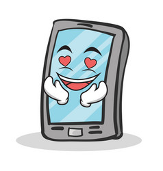 In love smartphone cartoon character vector