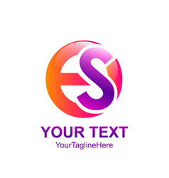Initial letter es logo template colorfull circle vector
