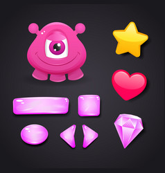 Interface icons for game design with monster vector image
