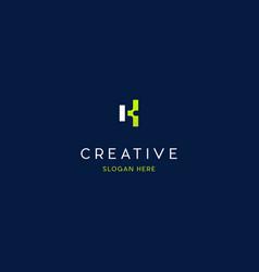 letter k pixel creative logo design vector image