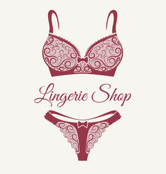 Lingerie shop retro emblem vector