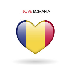 love romania symbol flag heart glossy icon on a vector image