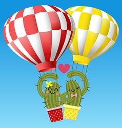 Loving couple of cactus arm in arm with balloon vector