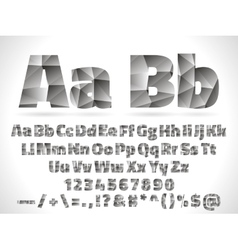 Lowpoly font alphabet with numbers and vector