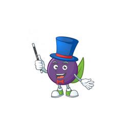 Magician acai berries character for fresh fruit vector