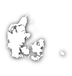 map of denmark with shadow vector image