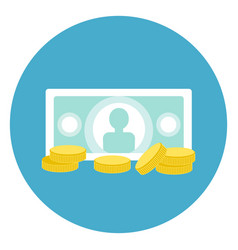 Money icon bank note with coins web button on vector
