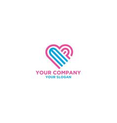 Mp love logo design vector