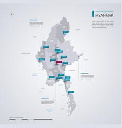 Myanmar burma map with infographic elements vector