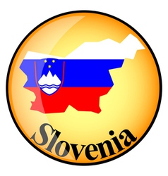 Orange button with the image maps of Slovenia vector