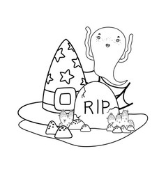 Outline ghost and with hat with rip stone vector