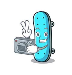 photographer skateboard mascot cartoon style vector image