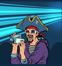 Pirate shoots and watches adventure movies vector