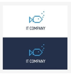 Pixel fish logo design template with square style vector image