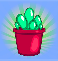 Pop art houseplant cactus in a pot white vector