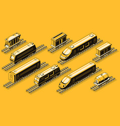 railroad industry elements isometric set vector image