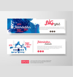 Ramadan sale offer banner set design promotion vector