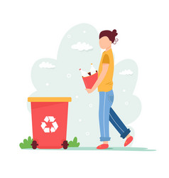 Recycling concept young girl with sorted garbage vector