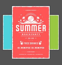 Retro summer party design poster or flyer vector