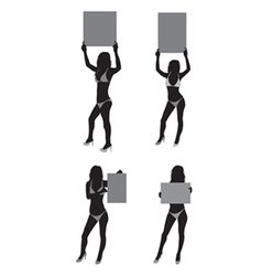 Ring girls silhouette vector image