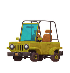 safari car in cartoon style isolated on white vector image