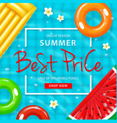 Sale inflatable pool poster vector