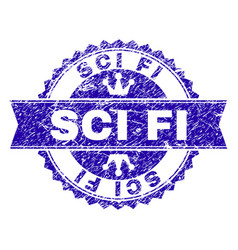 Scratched textured sci fi stamp seal with ribbon vector